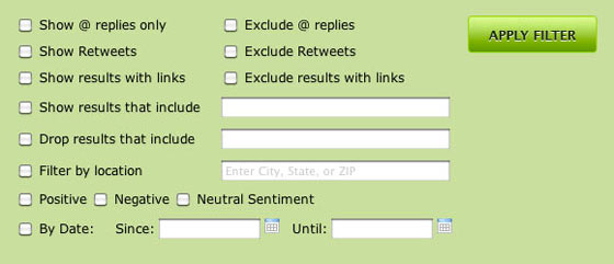 Search Options to Filter Twitter Results