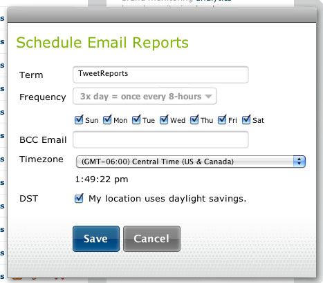 Schedule Email Report Settings