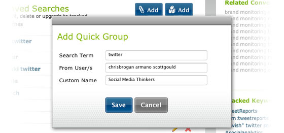 Quick Groups Search Filters
