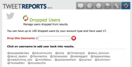 Dropped Users Administration Page