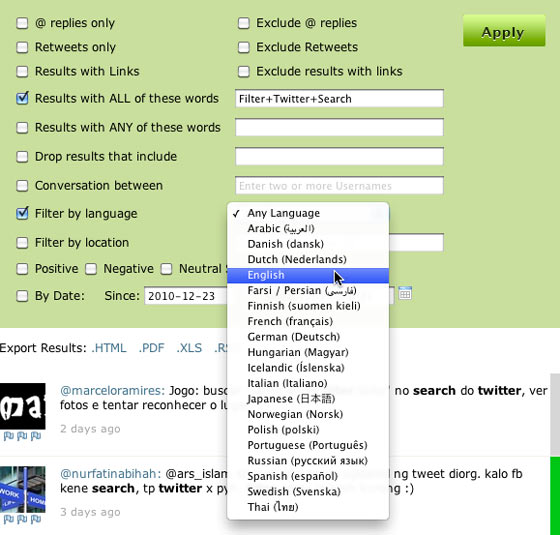 Twitter Search Language Filters