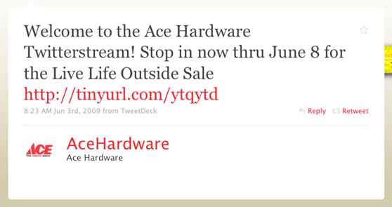 Ace Hardware First Twitter Message