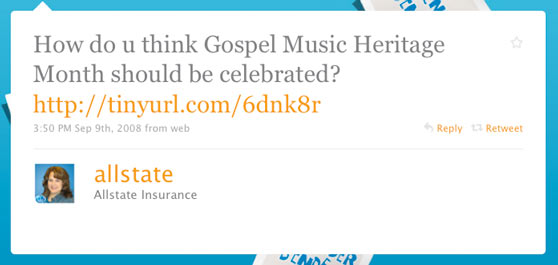 Allstate Insurance First Twitter Message