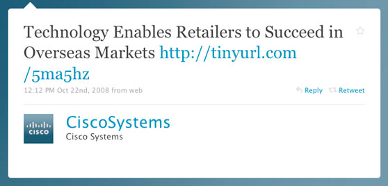 Cisco Systems First Twitter Message