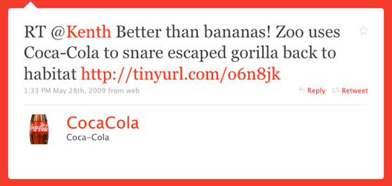 Coca Cola First Twitter Message