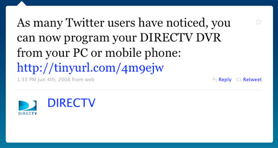 DIRECTV First Twitter Message