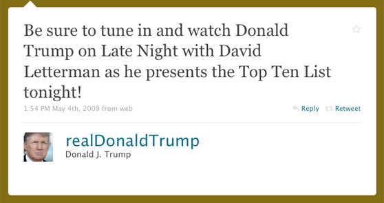 Donald Trump First Twitter Message