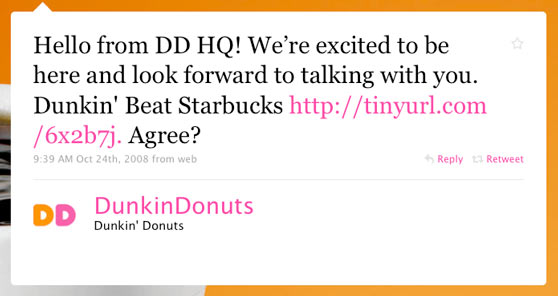 Dunkin Donuts First Twitter Message
