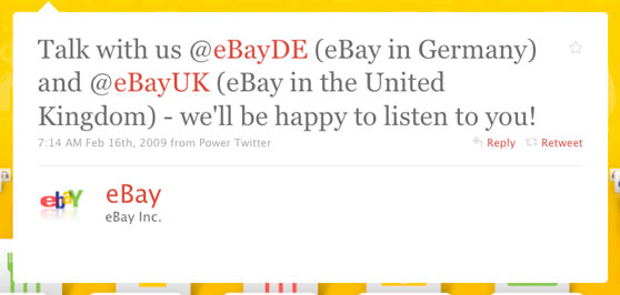 eBay First Twitter Message