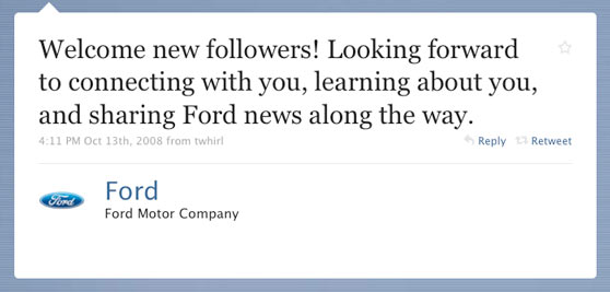 Ford Motor Company First Twitter Message