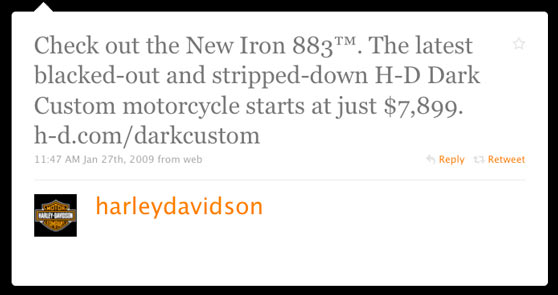 Harley Davidson First Twitter Message