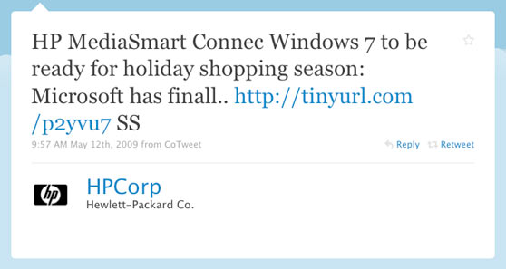 Hewlett-Packard (HP) First Twitter Tweet