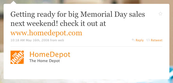 The Home Depot First Twitter Message