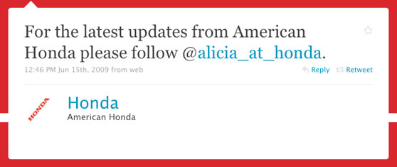 Honda America First Twitter Post