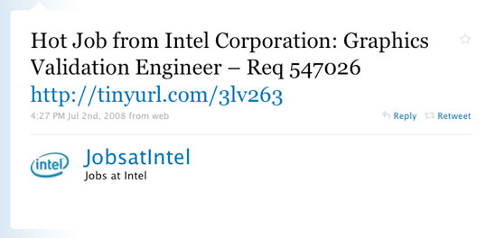 Intel Corporation First Twitter Post