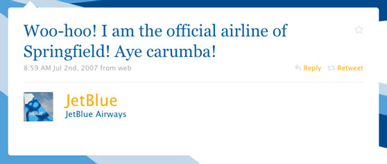 JetBlue Airways First Twitter Message