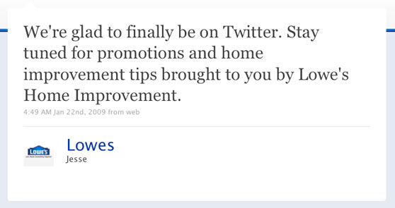 Lowes Home Improvement First Twitter Message