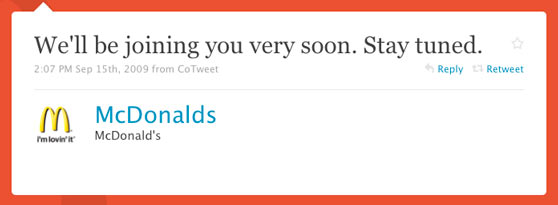 McDonalds First Twitter Message