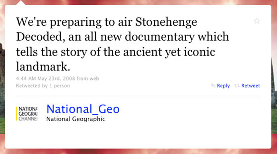 National Geographic First Twitter Message