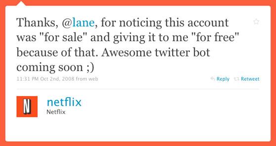 Netflix First Twitter Post