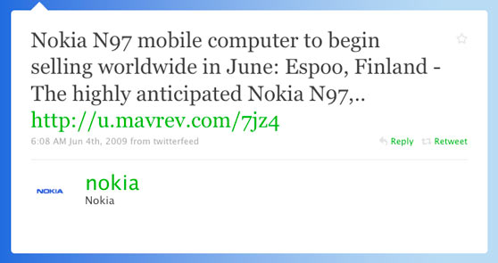 Nokia First Twitter Message