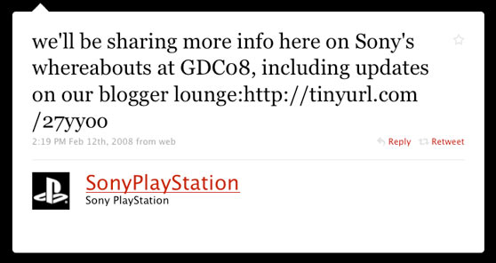 Sony PlayStation First Twitter Message