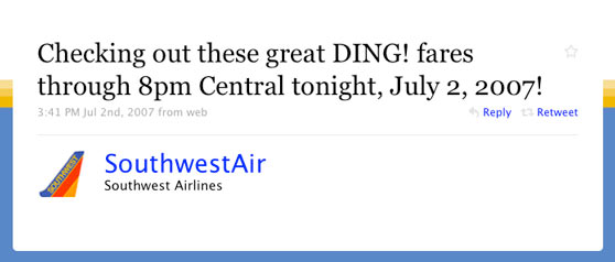 Southest Airlines First Twitter Post