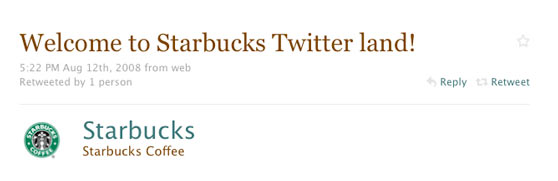 Starbuks First Twitter Message