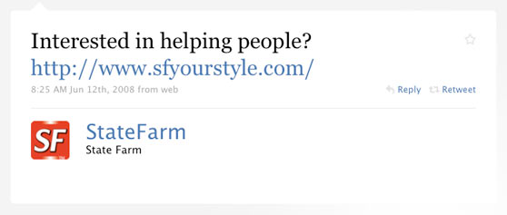 State Farm Insurance First Twitter Message