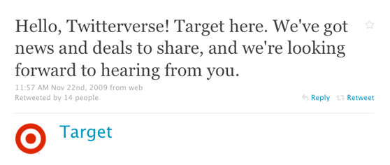 Target Corp First Twitter Post