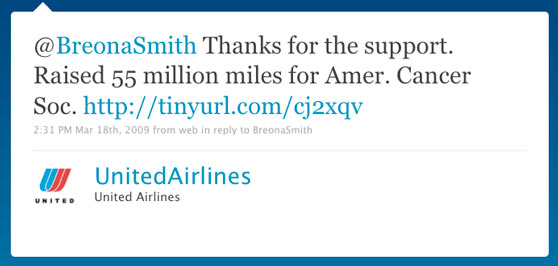 United Airline First Twitter Message
