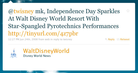 Walt Disney World First Official Twitter Message