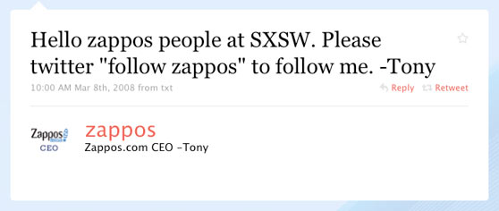 Zappos First Twitter Message