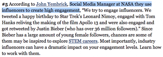 NASA Social Media Manager uses influencers to create high engagement