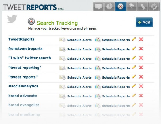 Tracked Searches Admin Page