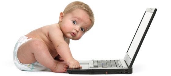 social media baby on computer