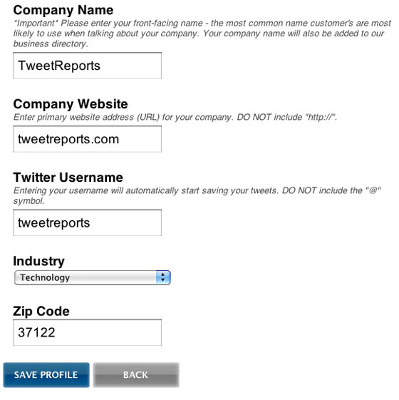 TweetReports User Profile